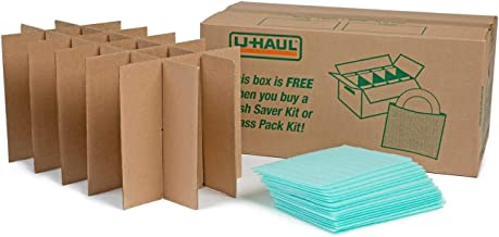 U-Haul Glass Packing Kit for Glasses and Stemware – Includes 1 Box, 1 Cell Divider Unit, and 18 Assorted Foam Pouches