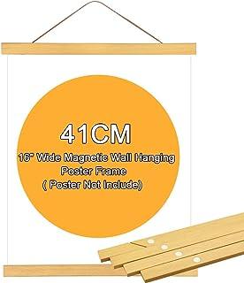 FAVENGO Colgador de Posters Marco de Poster Marcos Magneticos Marco de Madera para Colgar Fotos Marco Madera Natural Marcos Rusticos para Fotos Carteles Telas Obra con Cuerda de Cuero (4 Tiras, 41cm)