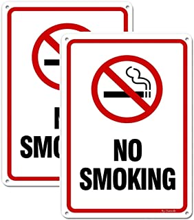 2-Pack No Smoking Signs Metal 10''x7'' Rust Free 40-mil Aluminum UV..