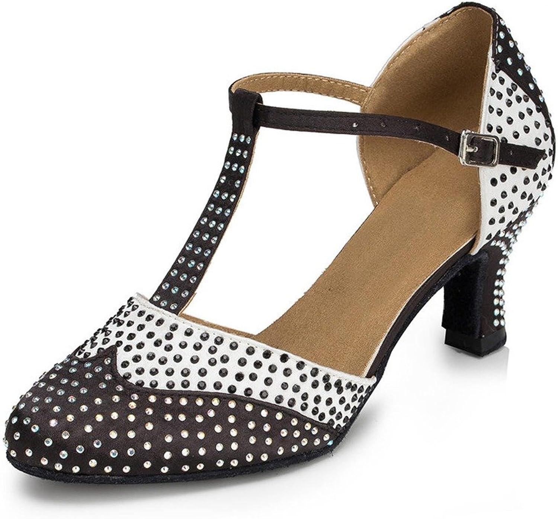 Monie Women's Glitter Crystal Practice Modern Salsa Ballroom Latin Dance shoes 2.4  Flared-Heel