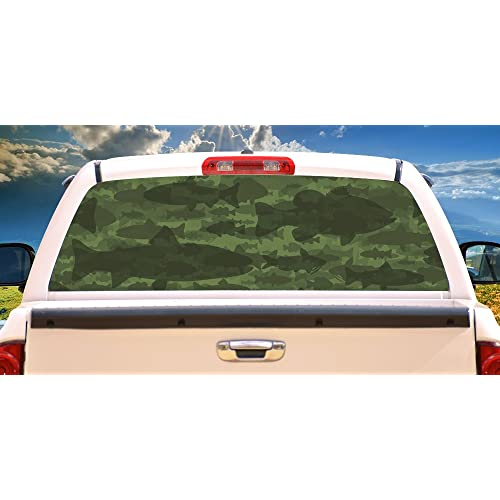 3df87872 SignMission Fish Camouflage Rear Window Graphic camo Decal Truck View Thru  Vinyl