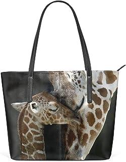 FANTAZIO Handtasche Schultertasche Eltern-Kind-Giraffen-Design
