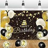 GRESATEK Schwarz Gold Geburtstag Banner für Mann und