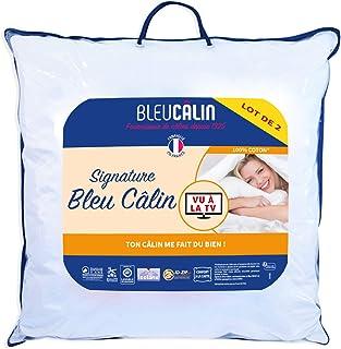 Bleu Câlin, Blanc, Oreiller 60x60 cm