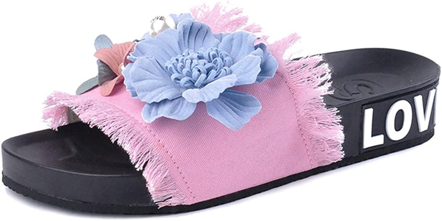 T-JULY Women's New Jeans Slippers Handmade Embroidery Flower Flat Sandals