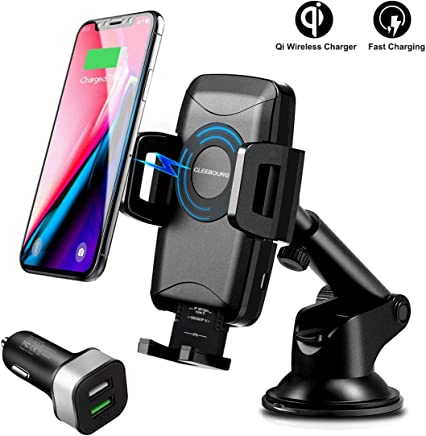 Wireless Car Charger Mount, CLEEBOURG 10W Qi Fast Wireless Phone Charger Holder, Air Vent
