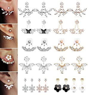 d4d87da723f947 12 Pairs Fashion Silver Plated Leaf Feather Flower Crystal Ear Jacket Front  and Back Stud Earrings