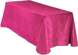 "LinenTablecloth Rectangular Pintuck Tablecloth, 90 x 156"", Fuchsia"
