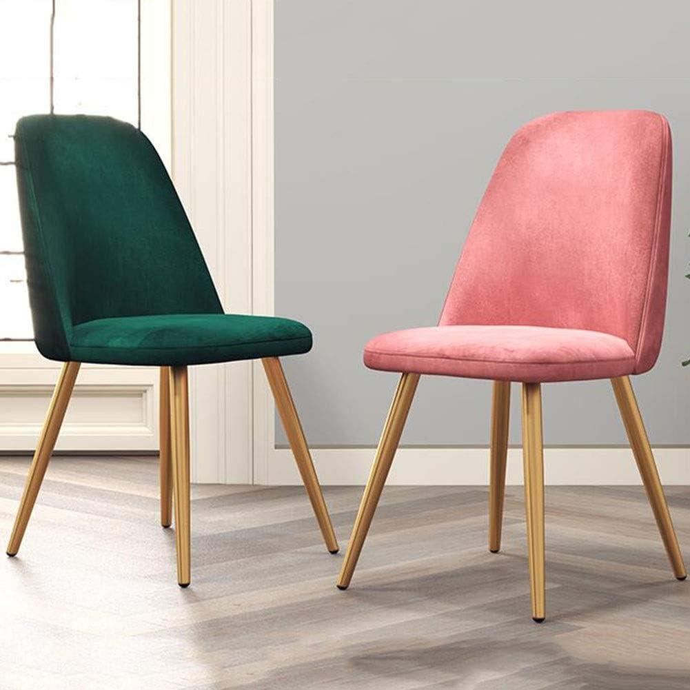 DALL Chaises De Salle À Manger Moderne Chaise De Dossier Rembourrés Jambes en Métal Doré Chambre Salon Antidérapant Facile À Assembler (Color : Brown 2) Pink