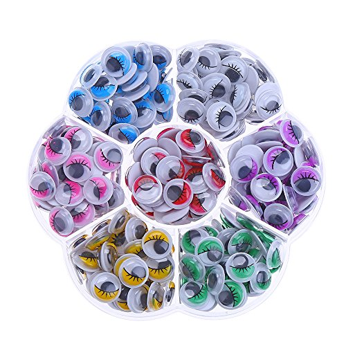 DECORA 240pcs 10mm Colors Wiggly Googly Eyes with Eyelash with Self-Adhesive DIY Scrapbooking...