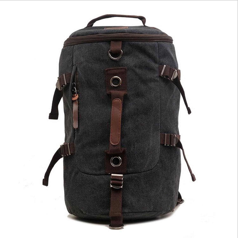 Canvas Backpack Shoulder Bag Handbag Retro Casual Neutral MultiPocket Large Capacity (2 colors) Hiking Hiking Bag Camping Outdoor,Black