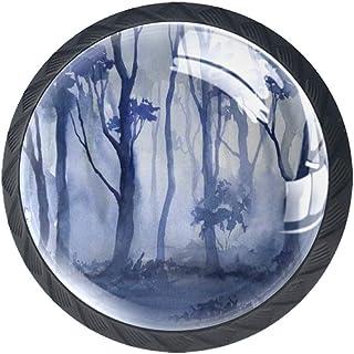 Forest - Juego de 4 pomos de cristal ABS para armario de cocina cajones y aparador