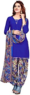 Rensil Women's French Crepe Dress Material with Dupatta (REN_1166_D_Blue_Free Size)