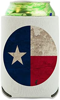 Rustic Texas State Flag Distressed USA Can Cooler - Drink Sleeve Hugger Collapsible Insulator - Beverage Insulated Holder