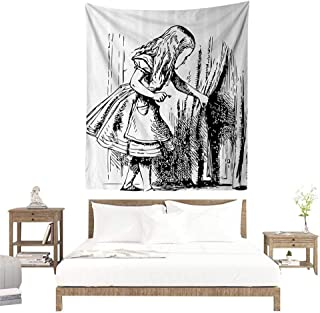 alisoso Tapestries for Sale,Alice in Wonderland Decorations,Black and White Alice Looking Through Curtains Hidden Door Adventure,Black White W55 x L55 inch Wall Decoration Tapestry Beach Mat