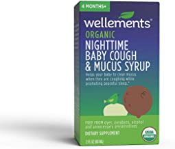 Wellements Organic Nighttime Baby Cough & Mucus Syrup, 2 Fl Oz, Free from Dyes, Parabens, Alcohol, Preservatives