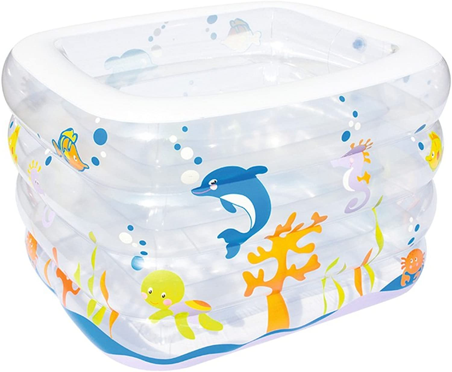 Transparent Baby Swimming Pool Paddling Pool Thicken Inflatable Square Pool Family Baby Swimming Pool Size S 120  105  75 L 140  110  75cm (Size   L)