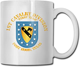 DSJRKSKEE 1st Cavalry Division Fort Hood Flash DUI Funny Gift Mug White Tea Brewing Cups 11 Oz