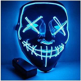 Kaliwa LED Máscaras Halloween, Halloween Mascaras, Craneo Esqueleto Mascaras, para Navidad /Halloween /Cosplay /Grimace Festival /Fiesta Show /Mascarada, Alimentado por batería (no Incluido) (Azul)