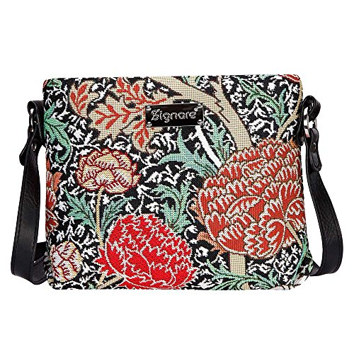 Signare Tapestry Crossbody Bag Small Shoulder Bag for Women with William Morris Design (The Cray, XB02-CRAY)