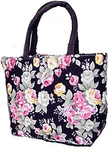 Women's Handbag For Shopping Flower Colorful Lunch Bag For Women Canvas Bag Black