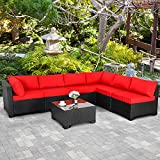 Valita 7 Piece Outdoor PE Wicker Furniture Set, Patio Black Rattan Sectional Sofa Couch with Washable Red Cushions