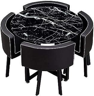 Table de salle à manger ronde en verre trempé 90 cm Table de loisirs transparente Table de salle à manger (couleur : table...