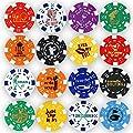 Da Vinci Golf Ball Marker Poker Chip Collection, 11.5 Gram Striped Chips (16-Pack)