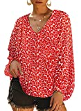 Dokotoo Womens Bohemian Plus Size Soft Fashion Summer Autumn Floral Printed Loose Shirts Balloon Long Sleeve V-Neck Plain Beach Blouses and Tops Tunics Red XX-Large