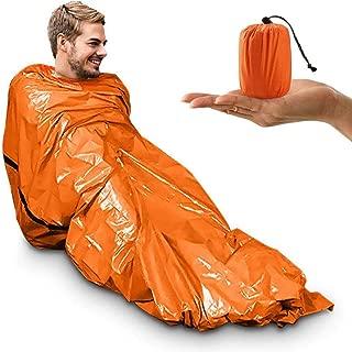 Emergency Sleeping Bag, Survival Bivvy Bag PE Aluminum Film, Emergency Blanket Bushcraft Lightweight Reflective Lining Thermal Sleeping Bag Interior Survival Gear Kit for Outdoor Camping and Hiking