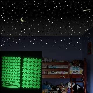 LtrottedJ Glow In The Dark Star Wall Stickers, 103Pcs Star Moon Luminous Kids Room Decor