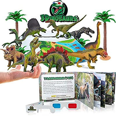 3D Dinosaur Toys Playset Realistic Dinosaur Figures, Activity Play Mat & 3D Book to Explore the Dinosaurs World Include T-Rex, Educational Gift for Kids Boys & Girls Age 3 4 5 6 7 8 Years Old & Up