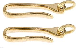 Dolity 2pcs Vintage Brass Keychain Key Ring Belt Fish U Hook Wallet Chain Fob Clip