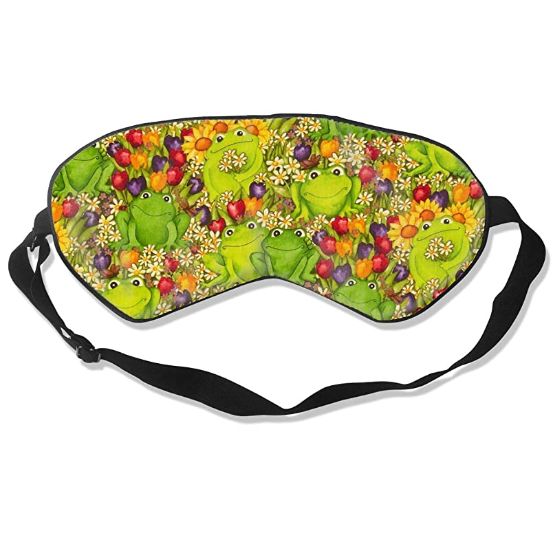 YINLAN Natural Silk Blackout Eye Mask, Soft Adjustable Blindfold for Men Women Kids Eye Cover, for Sleeping Travel Nap Shift Work Eyeshade, Frogs Green Colorful Smooth Sleep Mask qp103399502