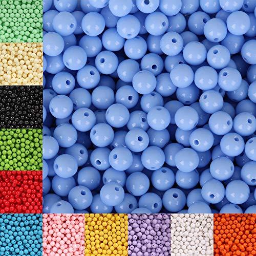 YJZZ 8mm 100 Piezas Multicolor de acrílico Perlas Pulseras DIY Mujeres y los Hombres Ronda Granos del Espaciador Fit & (Color : Peacock Green)