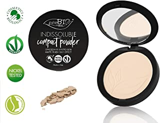 PuroBIO Certified Organic INDISSOLUBILE Face Powder with Anti-Aging & Mattifying Effect, Color 01 Light. Contains Vitamin E, Rice Powder, Shea Butter, Plant Oils. VEGAN. NICKEL TESTED.MADE IN ITALY