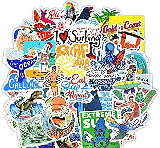 Waterproof Vinyl Stickers for Car Bike Laptop Skateboard Luggage Decal Graffiti Patches Stickers (50 Pcs Surfing Style)