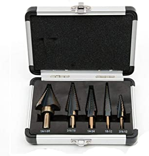 5 Pcs High Speed Steel Step Drill Bit Set