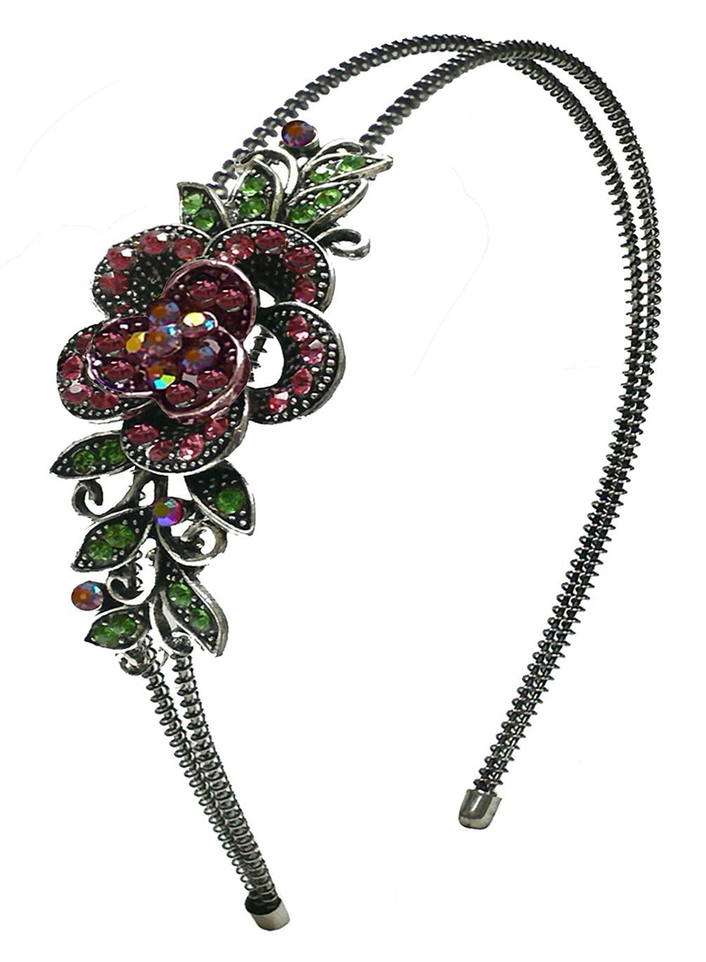 Crystal Flower Headband Resilient Metal Wire Hairband YY86121-0119roseRoseAB