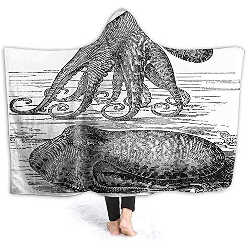 DJNGN 60X50 Inch Hooded Blanket, Ancient Octopus on Tentacles Vintage Style Illustration of Nature and Marine Wi Soft Wele Throw Blanket H