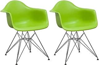 Mod Made Mid Century Modern Paris Tower Dining Arm Chair Chrome Leg, Green, Set of 2