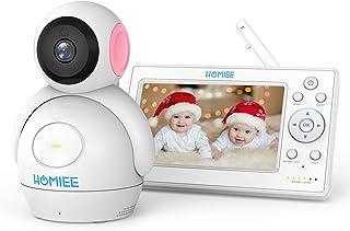 HOMIEE Bebé Monitor Vigilabebés con cámara inalámbrico de vídeo LCD HD de 5 Visión Nocturna Intercomunicador Bidireccional Canciones de Cuna (Rosa)