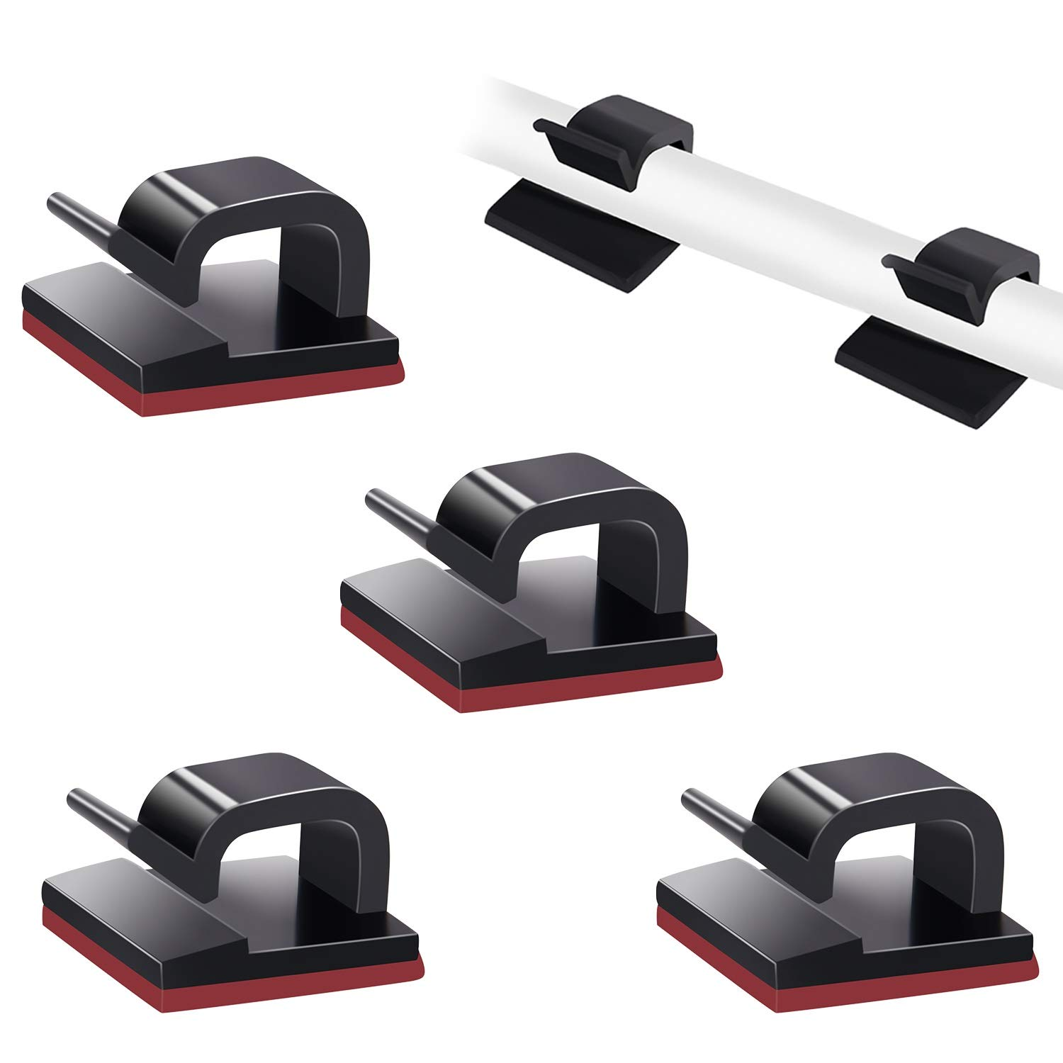 SOULWIT Cable Organizers Sticky Wire Clips Cord Holder for TV PC Laptop Ethernet Cable Desktop Home Office 100 Pcs Self Adhesive Cable Management Clips