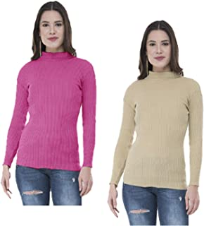09bcf3f33 Indistar Women's Wollen Warm Full Sleeves High Neck/Inner/Skivvy for Winter  (Pack