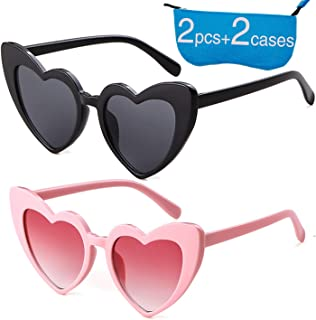 bca9924538 Retro Vintage Clout Goggle Heart Sunglasses Cat Eye Mod Style for Women  Kurt Cobain Glasses Plastic
