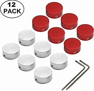 SOLUTEK Pedal Footswitch Topper Metal Buttons with 3 Screws and Rubber Inserts Fit Firmly Increase Comfort and Accuracy 12 Pack Silver Red…