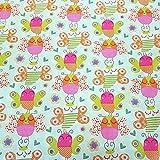 Stoff Meterware Baumwolle Eule Eulen pink hellgrün bunt
