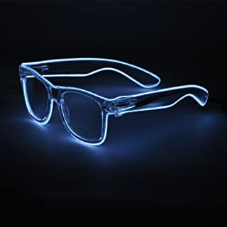 Sydnus EL Wire Rave Sunglasses LED Light Up Party Glasses(White)