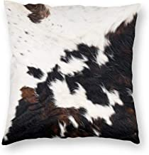 Decorative Pillow Covers Brown Cowhide Throw Pillow Case Cushion Cover Home Decor,Square 20 X 20 inches