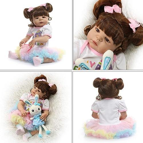 Realistische Reborn Puppe, 56 cm, Weißes Silikon, Vinyl, für Neugeborene, mädchen, lebensechte Handarbeit, Spielzeug für Kinder, Geburtstagsgeschenk